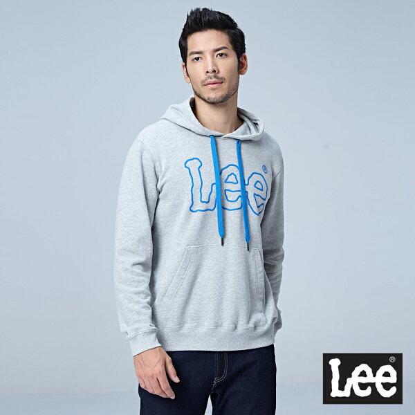 Lee大LOGO連帽厚TEERG-淺花灰色