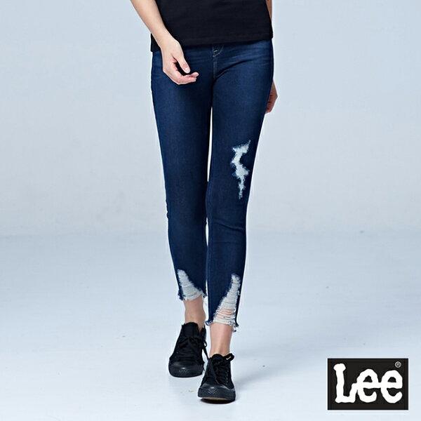 Lee417高腰緊身窄管牛仔褲-深藍色