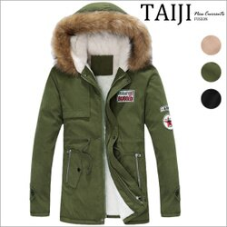 美式風格‧情侶款星星貼章加厚鋪棉毛邊連帽外套‧三色‧加大尺碼【NTJBA72】-TAIJI-
