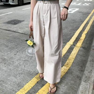 韓系女裝高腰闊腿休閒直筒寬褲樂天時尚館。預購。[全店免運]