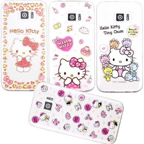 【Hello Kitty】Samsung Galaxy S7 edge 5.5吋 立體彩繪透明保護軟套