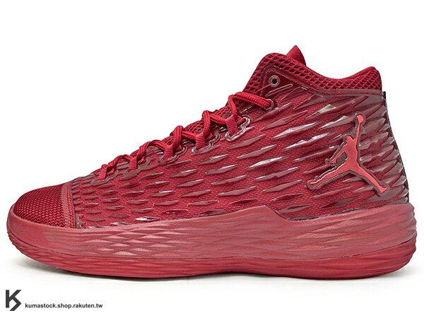 2017 NBA 明星前鋒 Carmelo Anthony 代言 NIKE JORDAN MELO M13 X 全紅 飛人 KURIM 科技鞋面 FLIGHTSPEED + ZOOM AIR 避震科技傳導 XDR 耐磨橡膠外底 NYC 紐約尼克隊 (902443-618) 0117 0