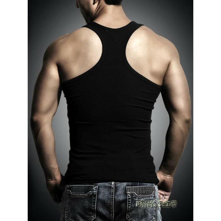 背心男夏季男士工字背心健身背心修身純冰絲棉汗無袖t恤運動背心《小蘿莉》 0