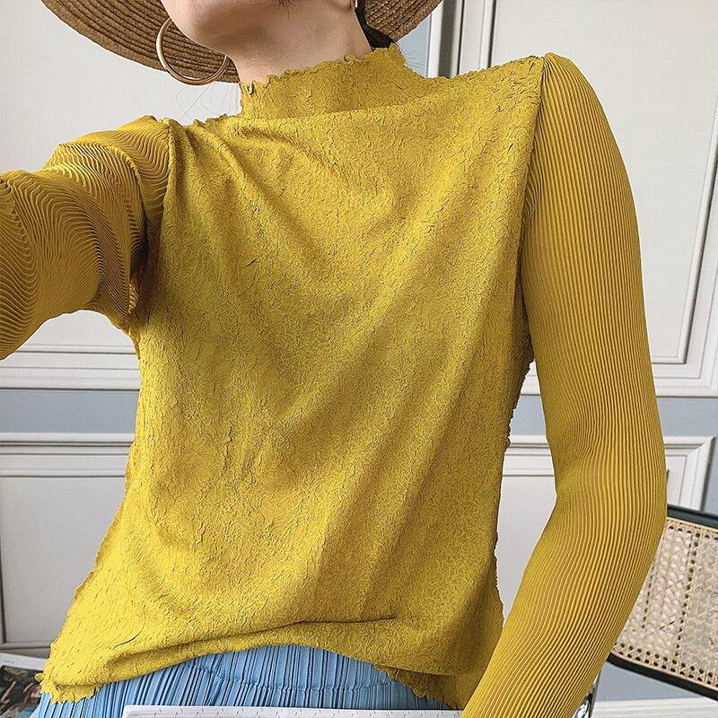 長袖T恤高彈力上衣-立領修身薄款褶皺女裝6色73zs39【獨家進口】【米蘭精品】