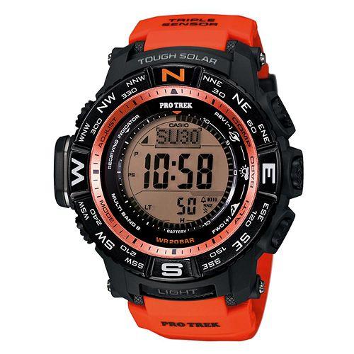 CASIO PRO TREK 登山錶 PRW-3500Y-4三大感應器電波專業登山腕錶/黑橘53.4mm