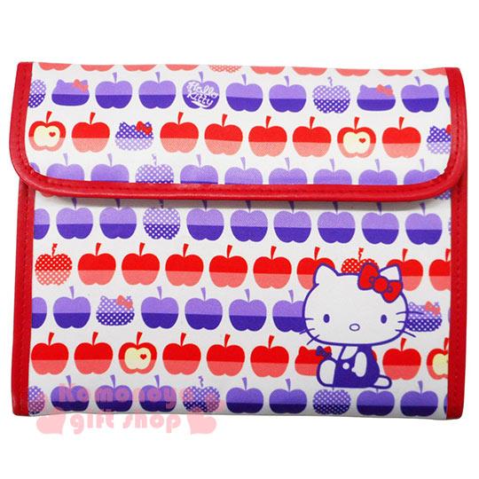 〔小禮堂〕Kitty 尼龍多功能證件包《白.側坐.蘋果滿版》多層次收納設計