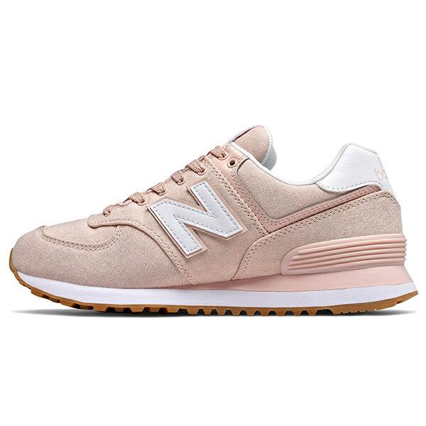 Shoestw【WL574SKC】NEW BALANCE NB574 復古休閒鞋 牛仔布面 馬卡龍 櫻花粉 粉白 女生 1