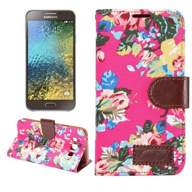 三星Galaxy E5 保護套 花布紋支架插卡皮套 Samsung E5000 E500H 側翻手機保護殼
