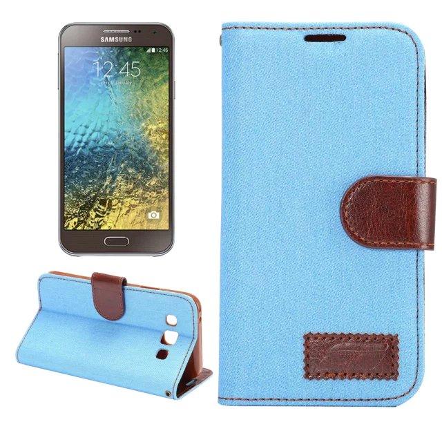 三星Galaxy E5 保護套 牛仔布紋支架插卡皮套 Samsung E5000 E500H側翻手機保護殼