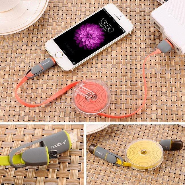 酷迪爾CoolDeal 二合一雙頭高速充電線 線長1米 iPhone+安卓Micro v8手機平版皆適用 數據線帶整線盒