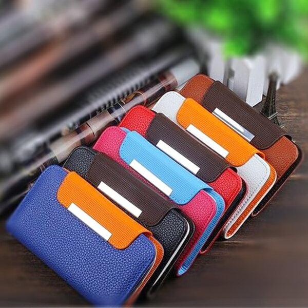 萬能手機皮套 4.0~4.3吋通用皮套 有孔夾子皮套 荔枝紋 有孔夾子 可插卡