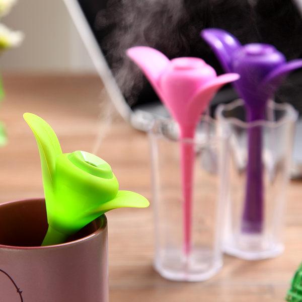 加濕器 三葉草帶夜燈含水杯 迷你智能USB空氣加濕器 辦公室 車載靜音 加濕器~ ~