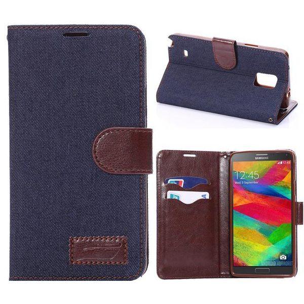 三星Galaxy Note 4 保護套 牛仔布紋支架插卡皮套 Samsung N9100