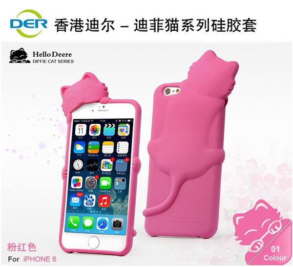 蘋果iphone 6 plus 5.5吋保護套 趴趴貓 迪爾DER迪菲貓系列矽膠套 App