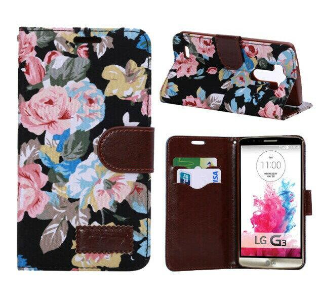 LG G3保護套 花布紋支架插卡皮套lg g3側翻手機保護殼【預購】