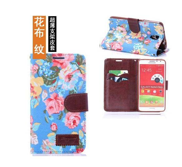 三星Galaxy Note 3 Neo保護套 花布紋支架插卡皮套 Samsung Note3 mini N7505側翻手機保護殼【預購】