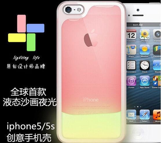 蘋果iPhone5/5S 保護套 SL012夜光流沙手機殼 液體流沙手機外殼 透明保護殼【預購】