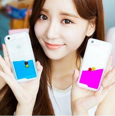 蘋果iPhone5 / 5S 保護套 SL005可愛游泳小魚手機殼 液體流沙手機外殼 透明保護殼【預購】 2