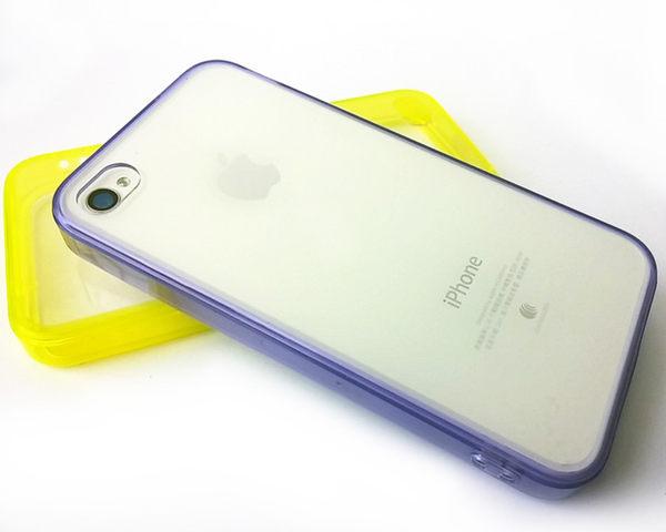 【清倉】蘋果 iPhone 4 糖果色自帶防塵塞矽膠軟邊透明殼 Apple iPhone 4S 果凍套 清水套 透明保護殼