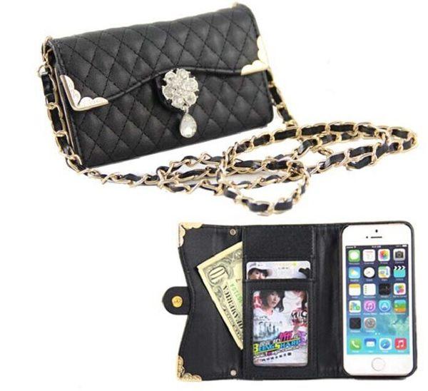 蘋果iPhone5/5S 保護套 菱格鑽石錢包款皮套 iPhone5S 鏈條跨肩式手機套 保護殼【預購】