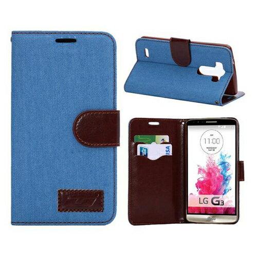 LG G3保護套 牛仔布紋支架插卡皮套 lg g3 D855側翻手機保護殼【預購】