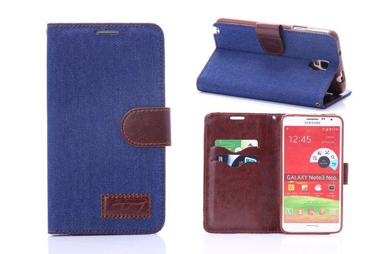 三星Galaxy Note 3 Neo 保護套 牛仔布紋支架插卡皮套 Samsung No