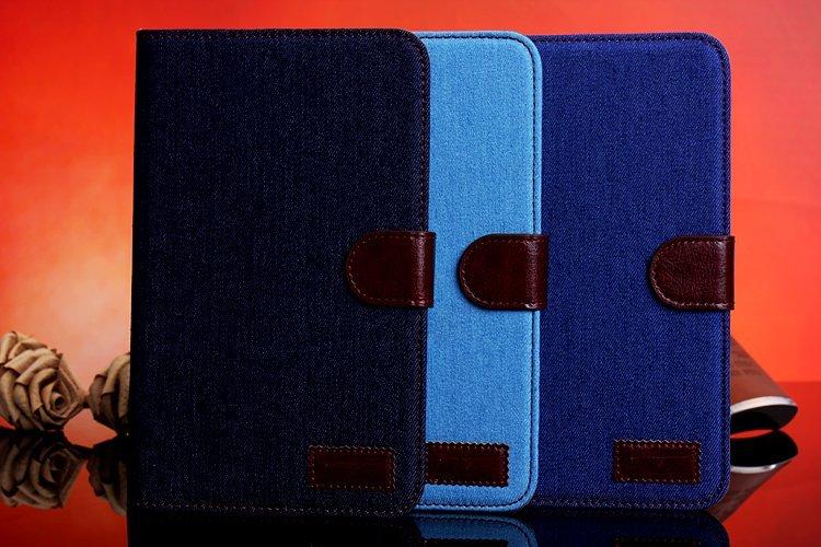 三星Galaxy Tab3 Lite T110 保護套 牛仔布紋支架插卡皮套 Samsung T111 側翻平板保護殼【預購】