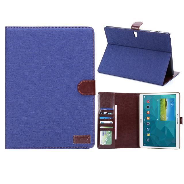 三星Galaxy Tab S 10.5平板保護套 牛仔布紋支架插卡皮套 Samsung T800 T805側翻手機保護殼【預購】