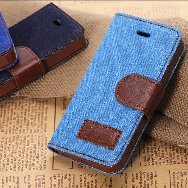 蘋果iPhone5C 保護套 牛仔布紋支架插卡皮套 APPLE 5C側翻手機保護殼【預購】