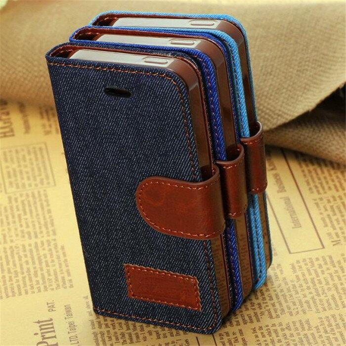 蘋果 iPhone 5/5S 手機套 牛仔布紋支架插卡皮套 Apple 5/5S 側翻手機保護套 保護殼【預購】