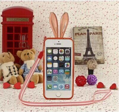 蘋果 iPhone 6 plus 5.5吋 手機邊框 SJ0002水晶兔子軟邊框帶掛繩 Apple iphone6 plus可愛兔耳朵邊框 矽膠套
