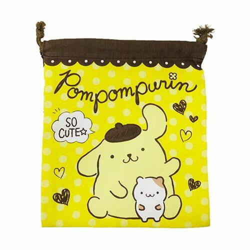 【日本進口正版】布丁狗 帆布 束口袋 收納袋 抽繩束口袋 三麗鷗 Sanrio - 425005