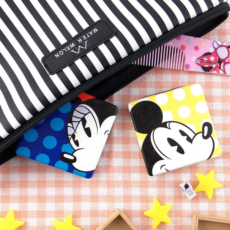 【Disney 】可愛方形雙面折疊鏡/化妝鏡/隨身鏡-點點