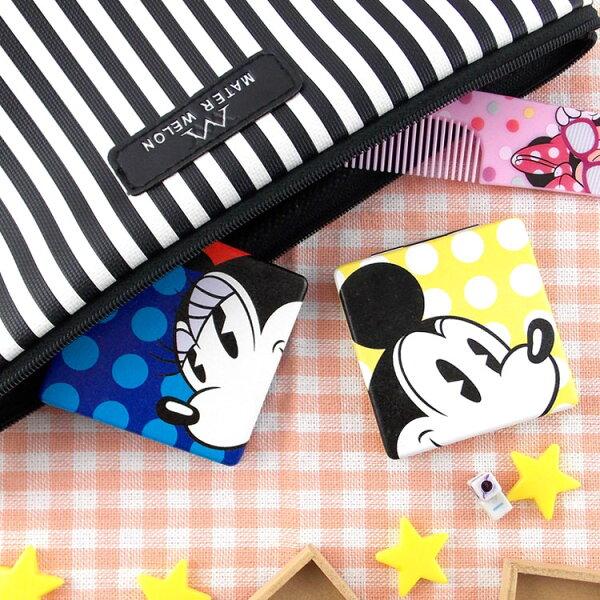【Disney】可愛方形雙面折疊鏡化妝鏡隨身鏡-點點
