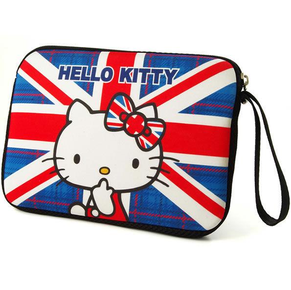 [NOVA成功3C]Hello Kitty SKN-536 精典彈膠型筆電保護袋KT-英倫風7吋  喔!看呢來