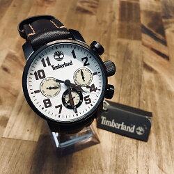 美國百分百【全新真品】Timberland 大樹牌 手錶 腕錶 配件 不鏽鋼 真皮錶帶 三眼計時 禮物 禮盒 J099