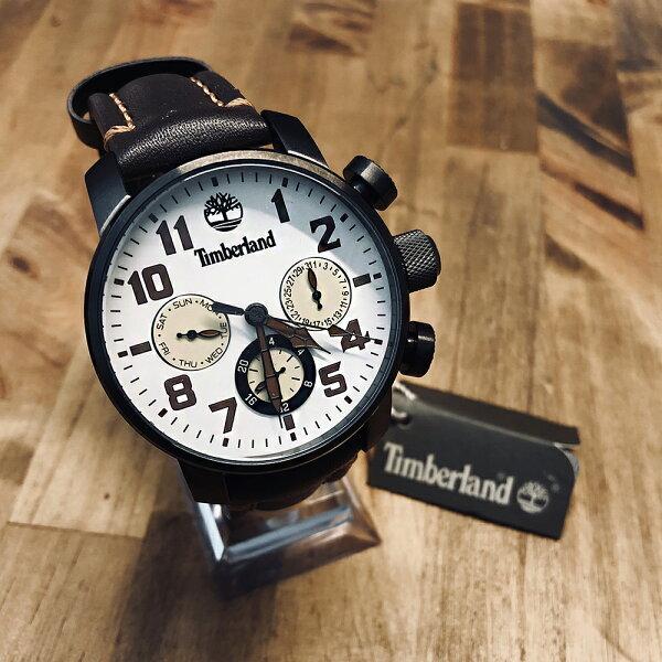 美國百分百【全新真品】Timberland大樹牌手錶腕錶配件不鏽鋼真皮錶帶三眼計時禮物禮盒J099