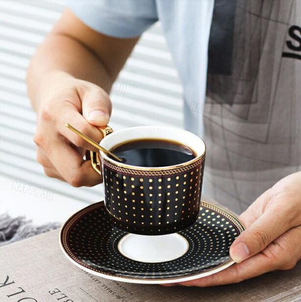歐式咖啡杯帶碟帶勺碟套裝英倫金邊陶瓷茶杯家用簡約下午茶英式-藍/粉/黑【AAA5031】