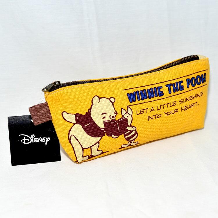 小熊維尼 帆布質 筆袋 文具袋 多功能拉鍊包 日本迪士尼正版商品