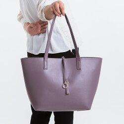 【le Lufon】 粉紫色荔枝紋皮革輕巧實用感大容量簡約設計兩用子母肩背包 托特包(L) 肩背包/手提包/手拿小包(粉紅/粉紫/灰色三色)