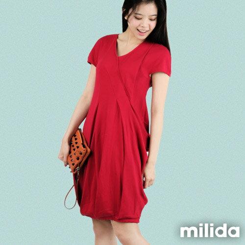 【Milida,全店七折免運】V領俏皮花苞剪裁洋裝 2