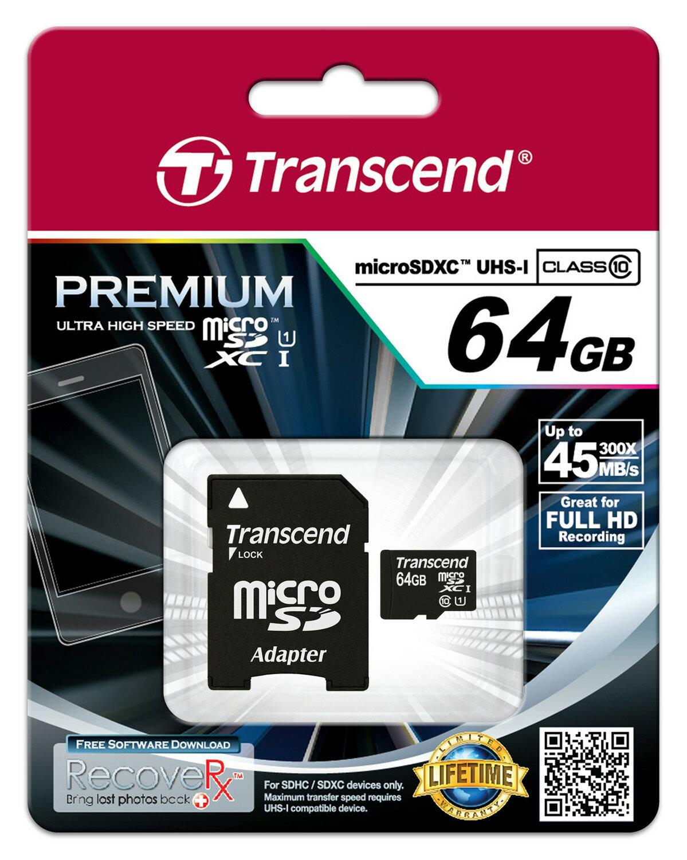 TRANSCEND 創見 Micro SDXC Class10 UHS-I 64G 記憶卡【葳豐數位商城】