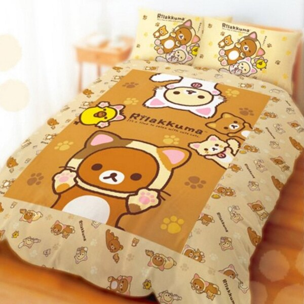 (免運)MIT台灣製造授權卡通系列【Rilakkuma 拉拉熊-變身貓咪】 單人床包組/雙人床包枕套組/被套/薄被單/兩用被/枕頭套/鋪棉被套/涼被/懶懶熊/小黃雞/牛奶熊/懶熊妹/奶油熊