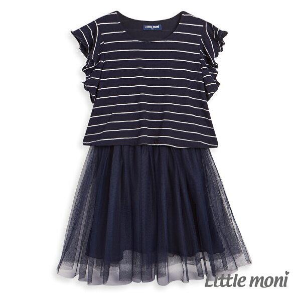 Littlemoni條紋荷葉袖網紗洋裝-深藍