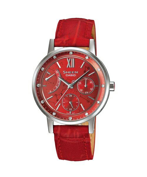 CASIO SHEEN SHE-3028L-4A璀燦星盤時尚腕錶/紅色33mm