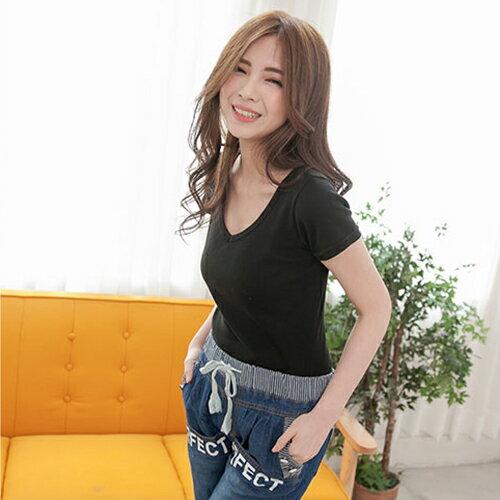 短袖T恤 - 羅紋棉V領素色上衣【23001】藍色巴黎《15色》現貨  MIT 1