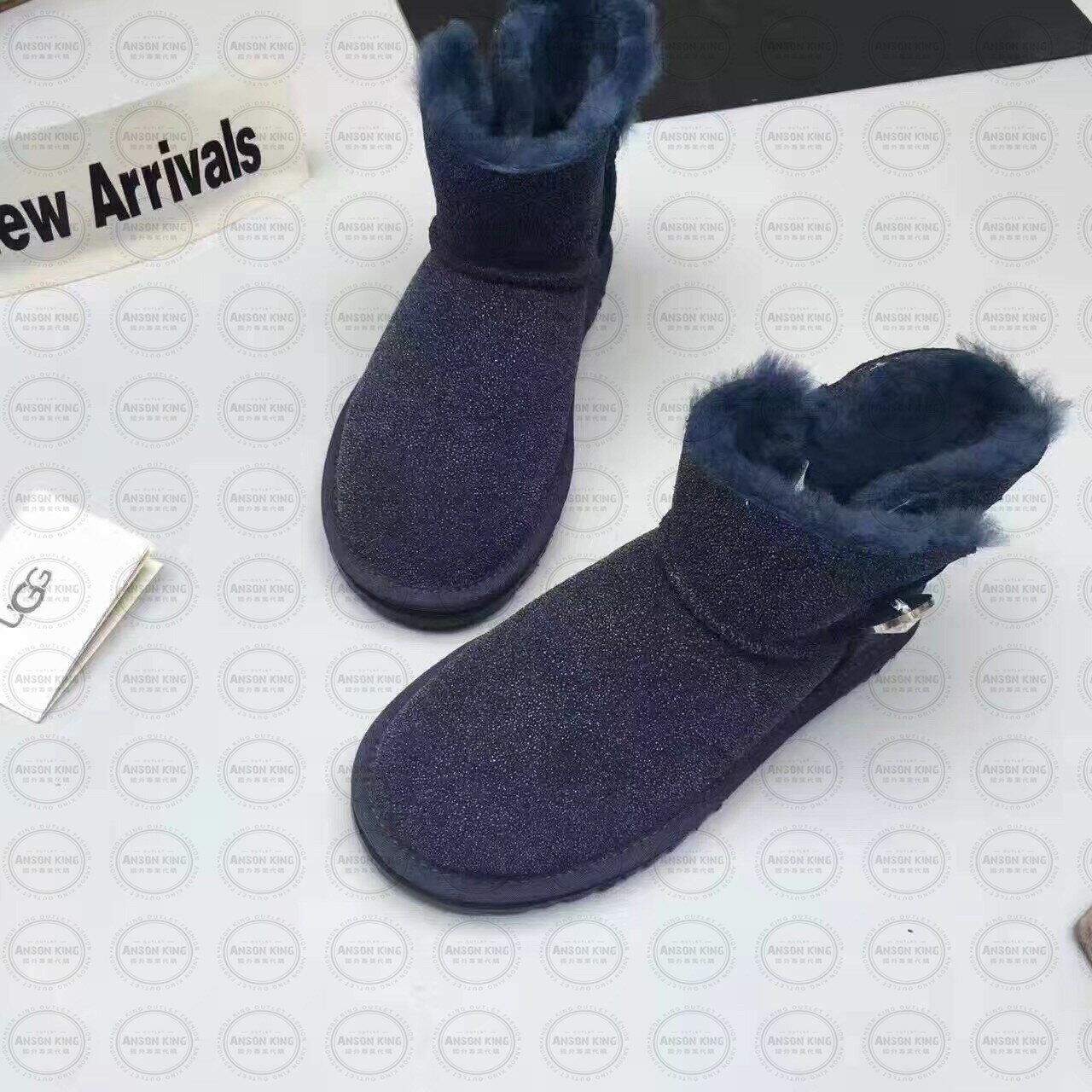 OUTLET正品代購 澳洲 UGG 明星同款水晶扣短靴 保暖 真皮羊皮毛 雪靴 短靴 藍色 1