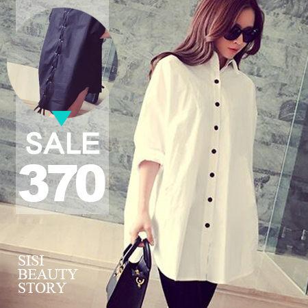 SiSi Girl:SISI【L5040】率性唯美韓版中長款後背綁帶長袖寬鬆襯衫上衣