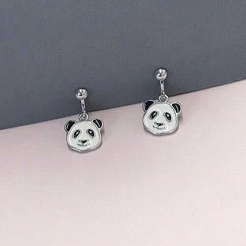 (預購+現貨)熊貓耳環。夾式(螺旋夾)針式耳環【2-2720】