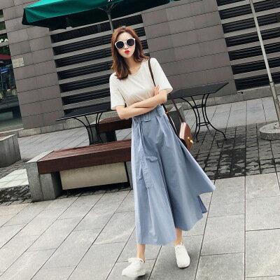 韓系女裝原宿假兩件式拼接不規則短袖連身裙洋裝樂天時尚館。預購